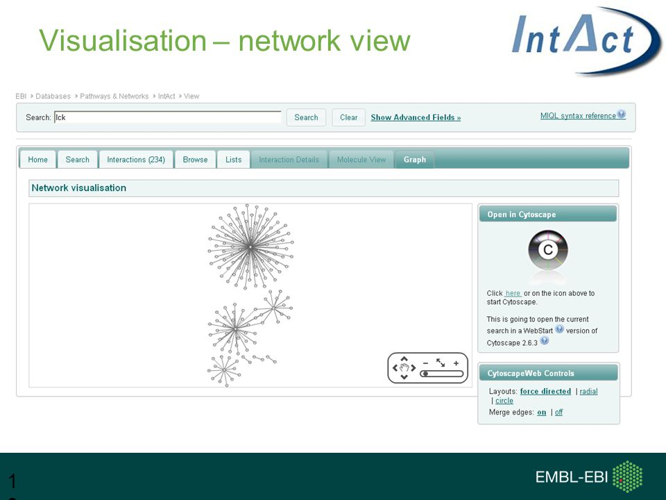 Visualisation – network view 13