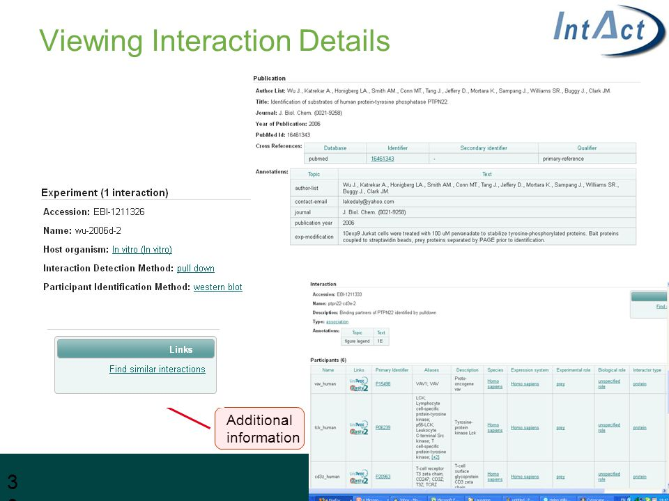 Viewing Interaction Details 30 Additional information