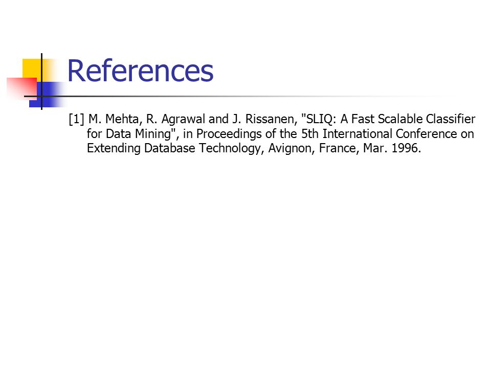 References [1] M. Mehta, R. Agrawal and J.
