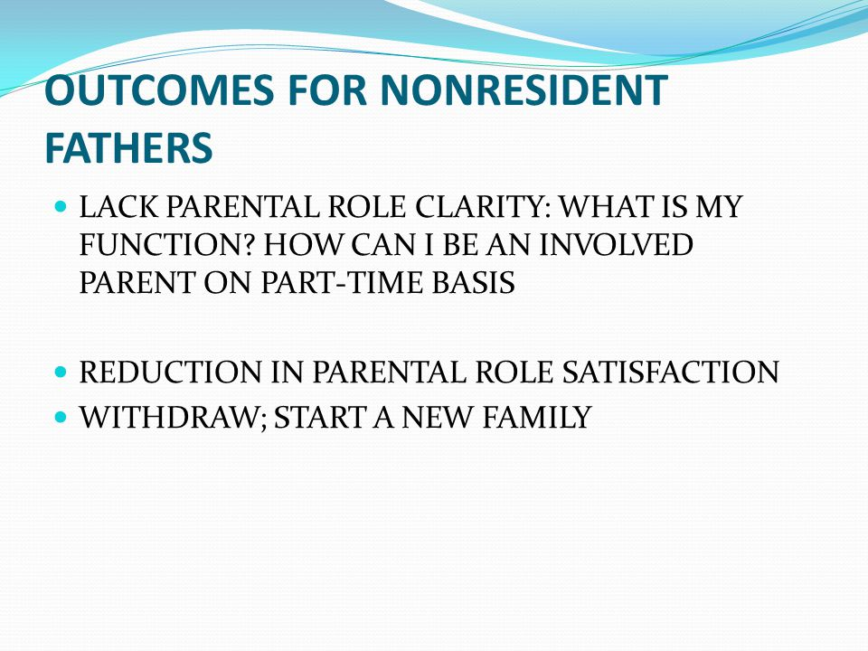 OUTCOMES FOR NONRESIDENT FATHERS LACK PARENTAL ROLE CLARITY: WHAT IS MY FUNCTION.