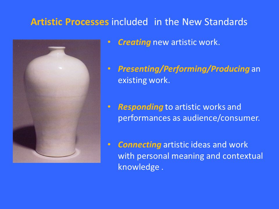 Artistic Processes included in the New Standards Creating new artistic work.