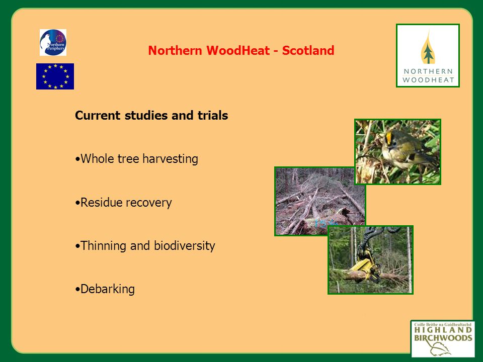 Northern WoodHeat - Scotland Current studies and trials Whole tree harvesting Residue recovery Thinning and biodiversity Debarking