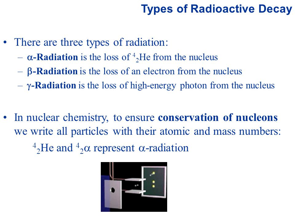 Prentice Hall © 2003Chapter 21 Types of Radioactive Decay There are three types of radiation: –  -Radiation is the loss of 4 2 He from the nucleus –  -Radiation is the loss of an electron from the nucleus –  -Radiation is the loss of high-energy photon from the nucleus In nuclear chemistry, to ensure conservation of nucleons we write all particles with their atomic and mass numbers: 4 2 He and 4 2  represent  -radiation