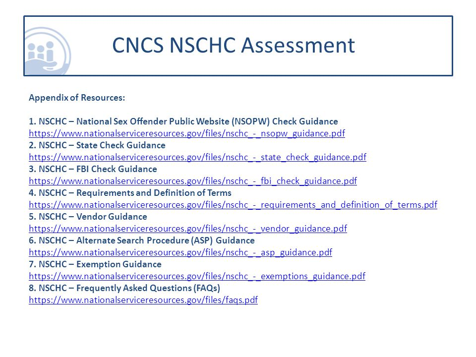CNCS NSCHC Assessment Appendix of Resources: 1.