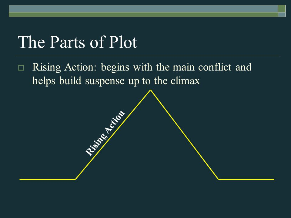 Rising Action The Parts of Plot  Rising Action: begins with the main conflict and helps build suspense up to the climax