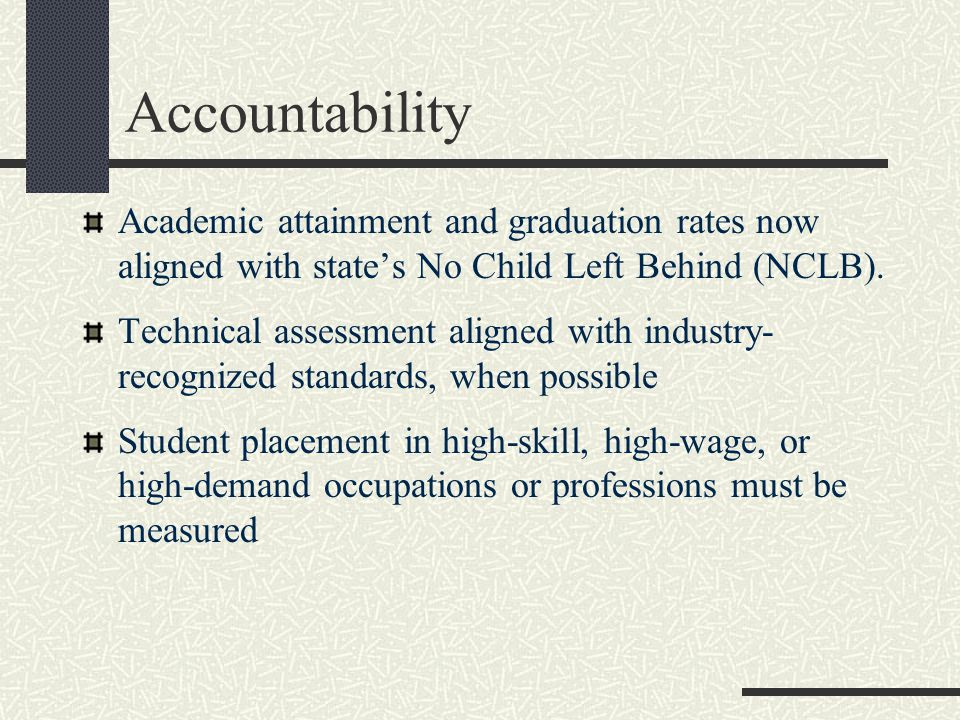 Accountability Academic attainment and graduation rates now aligned with state's No Child Left Behind (NCLB).