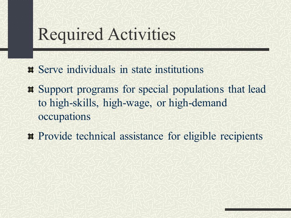 Required Activities Serve individuals in state institutions Support programs for special populations that lead to high-skills, high-wage, or high-demand occupations Provide technical assistance for eligible recipients