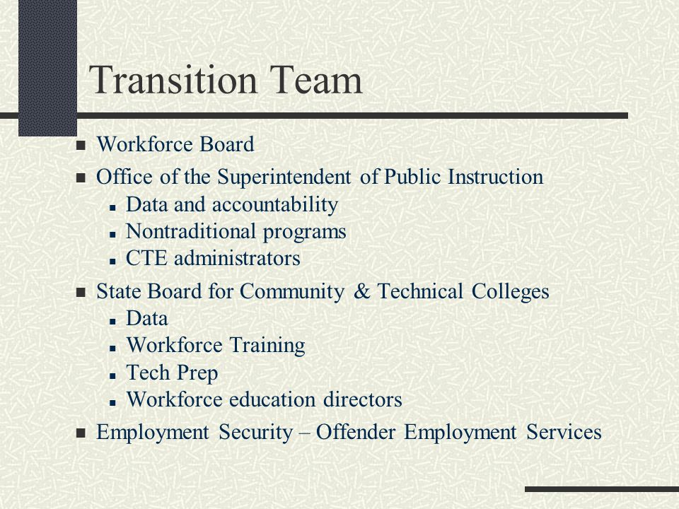 Transition Team Workforce Board Office of the Superintendent of Public Instruction Data and accountability Nontraditional programs CTE administrators State Board for Community & Technical Colleges Data Workforce Training Tech Prep Workforce education directors Employment Security – Offender Employment Services