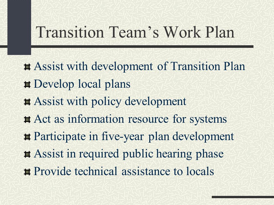 Transition Team's Work Plan Assist with development of Transition Plan Develop local plans Assist with policy development Act as information resource for systems Participate in five-year plan development Assist in required public hearing phase Provide technical assistance to locals