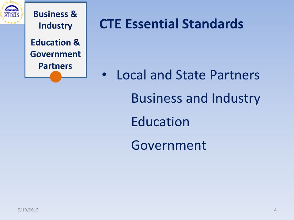 5/19/20154 NC State Board of Education Goals Local and State Partners Business and Industry Education Government CTE Essential Standards Business & Industry Education & Government Partners