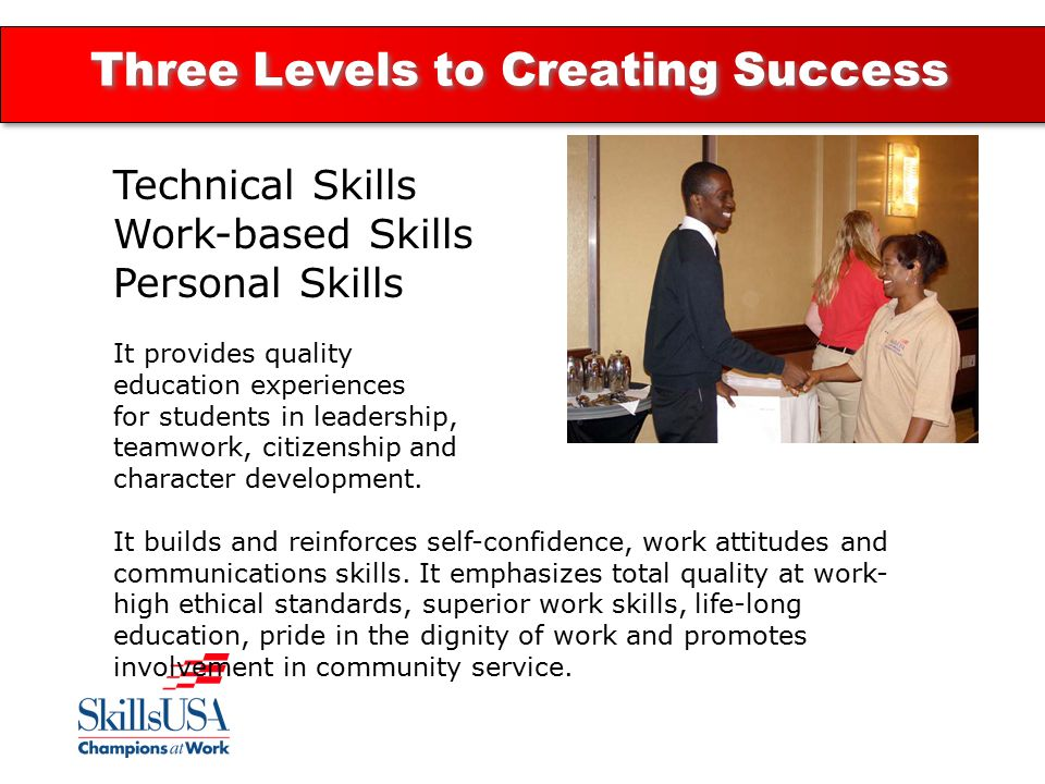 Three Levels to Creating Success Technical Skills Work-based Skills Personal Skills It provides quality education experiences for students in leadership, teamwork, citizenship and character development.