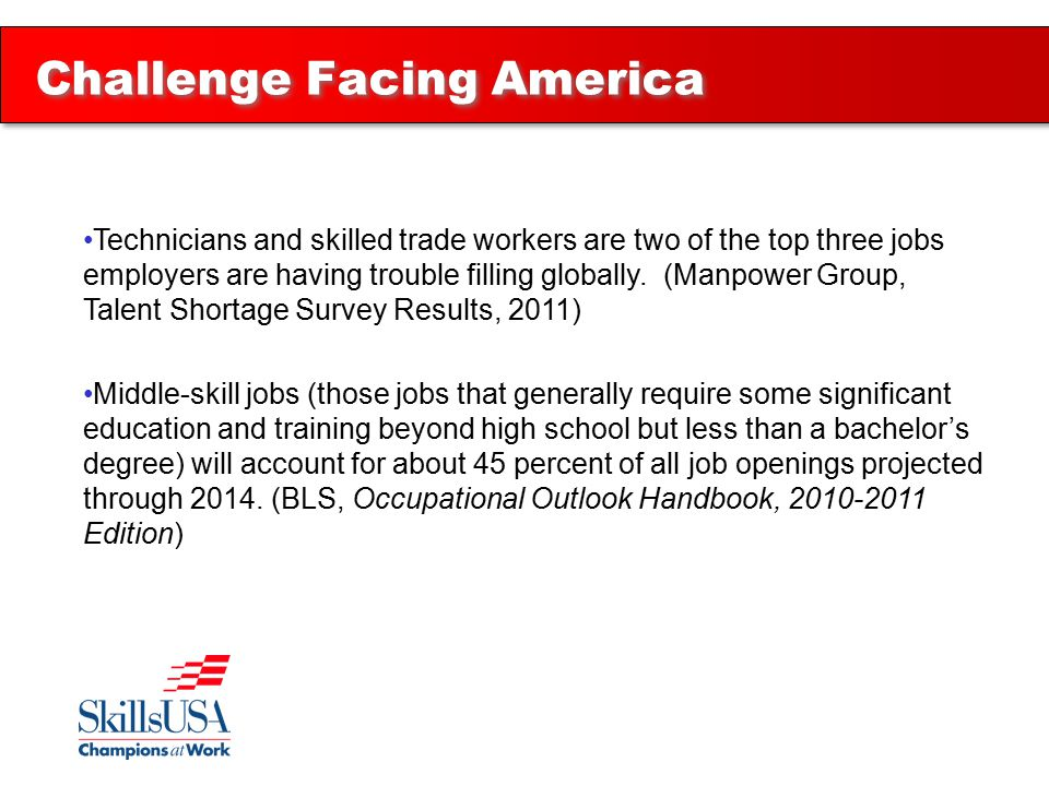 Technicians and skilled trade workers are two of the top three jobs employers are having trouble filling globally.