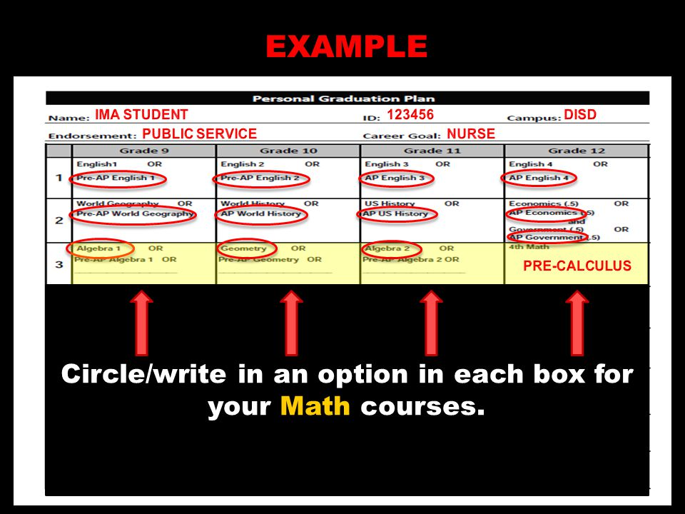 EXAMPLE Circle/write in an option in each box for your Math courses.