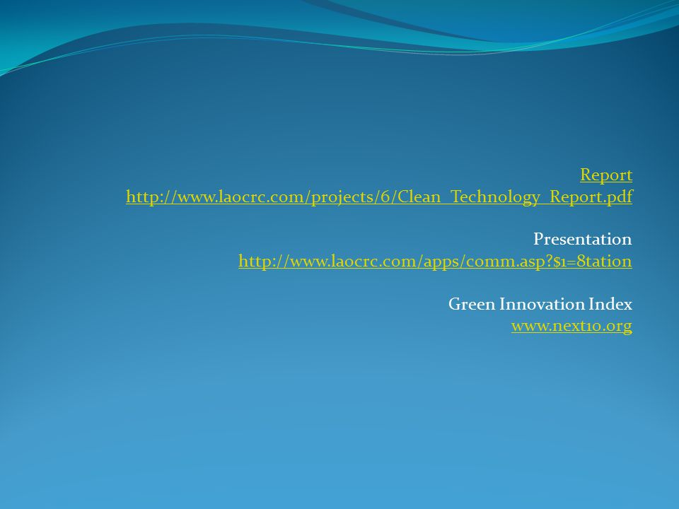 Report   Presentation   $1=8tation Green Innovation Index