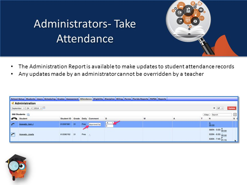 The Administration Report is available to make updates to student attendance records Any updates made by an administrator cannot be overridden by a teacher