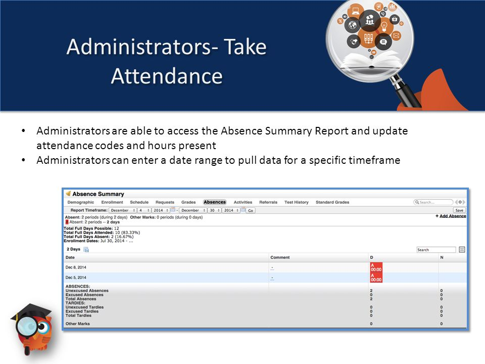 Administrators are able to access the Absence Summary Report and update attendance codes and hours present Administrators can enter a date range to pull data for a specific timeframe Administrators- Take Attendance