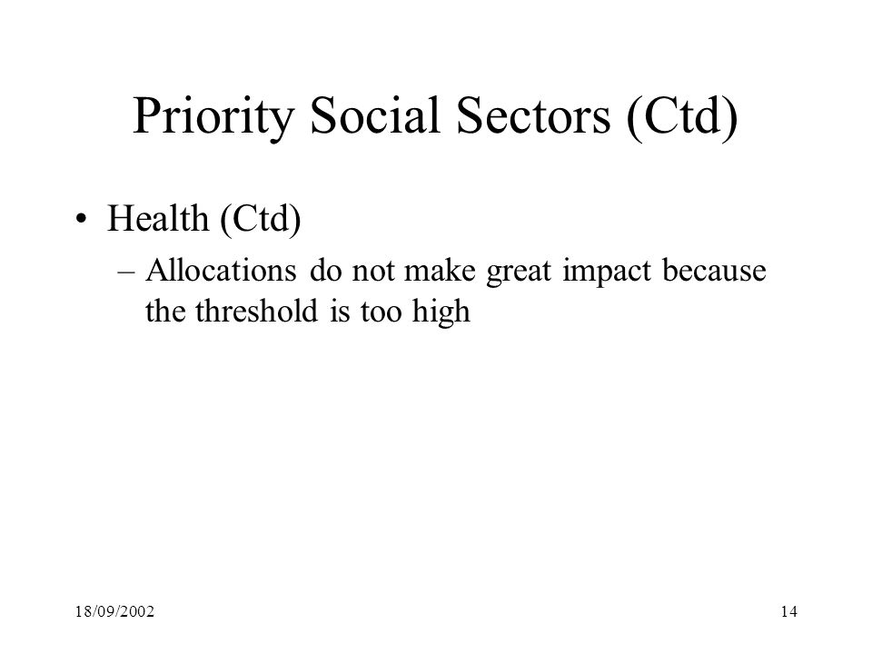 18/09/ Priority Social Sectors (Ctd) Health (Ctd) –Allocations do not make great impact because the threshold is too high