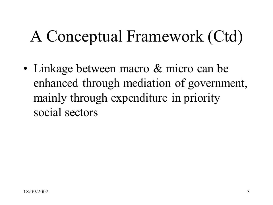 18/09/20023 A Conceptual Framework (Ctd) Linkage between macro & micro can be enhanced through mediation of government, mainly through expenditure in priority social sectors