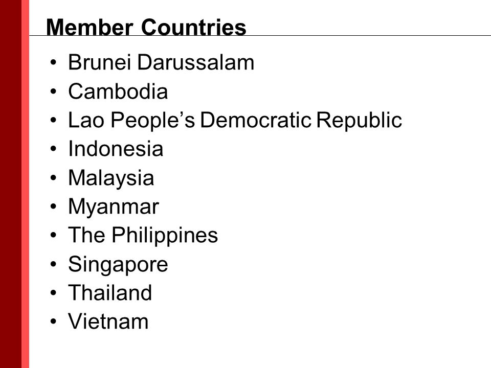 Brunei Darussalam Cambodia Lao People's Democratic Republic Indonesia Malaysia Myanmar The Philippines Singapore Thailand Vietnam Member Countries