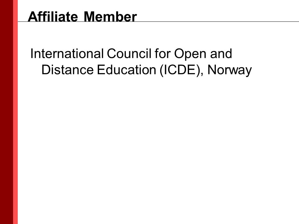 International Council for Open and Distance Education (ICDE), Norway Affiliate Member