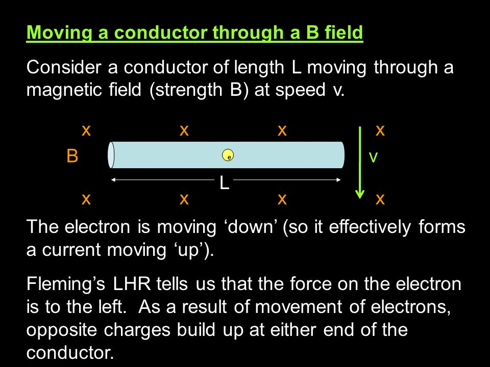 Moving a conductor through a B field Consider a conductor of length L moving through a magnetic field (strength B) at speed v.
