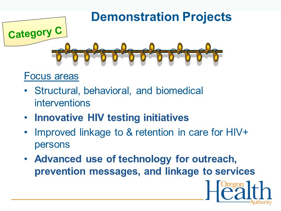 Focus areas Structural, behavioral, and biomedical interventions Innovative HIV testing initiatives Improved linkage to & retention in care for HIV+ persons Advanced use of technology for outreach, prevention messages, and linkage to services Category C Demonstration Projects