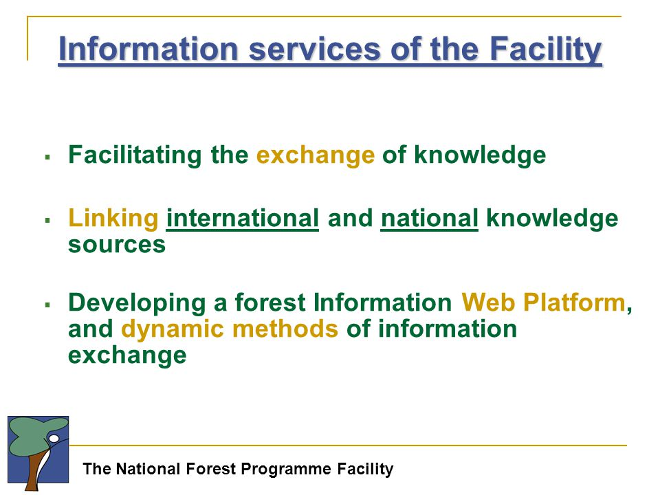 The National Forest Programme Facility  Facilitating the exchange of knowledge  Linking international and national knowledge sources  Developing a forest Information Web Platform, and dynamic methods of information exchange Information services of the Facility