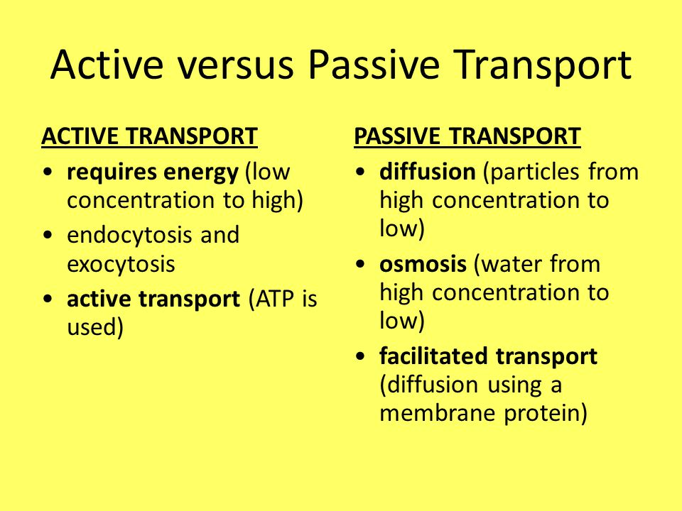 Active versus Passive Transport ACTIVE TRANSPORT requires energy (low concentration to high) endocytosis and exocytosis active transport (ATP is used) PASSIVE TRANSPORT diffusion (particles from high concentration to low) osmosis (water from high concentration to low) facilitated transport (diffusion using a membrane protein)