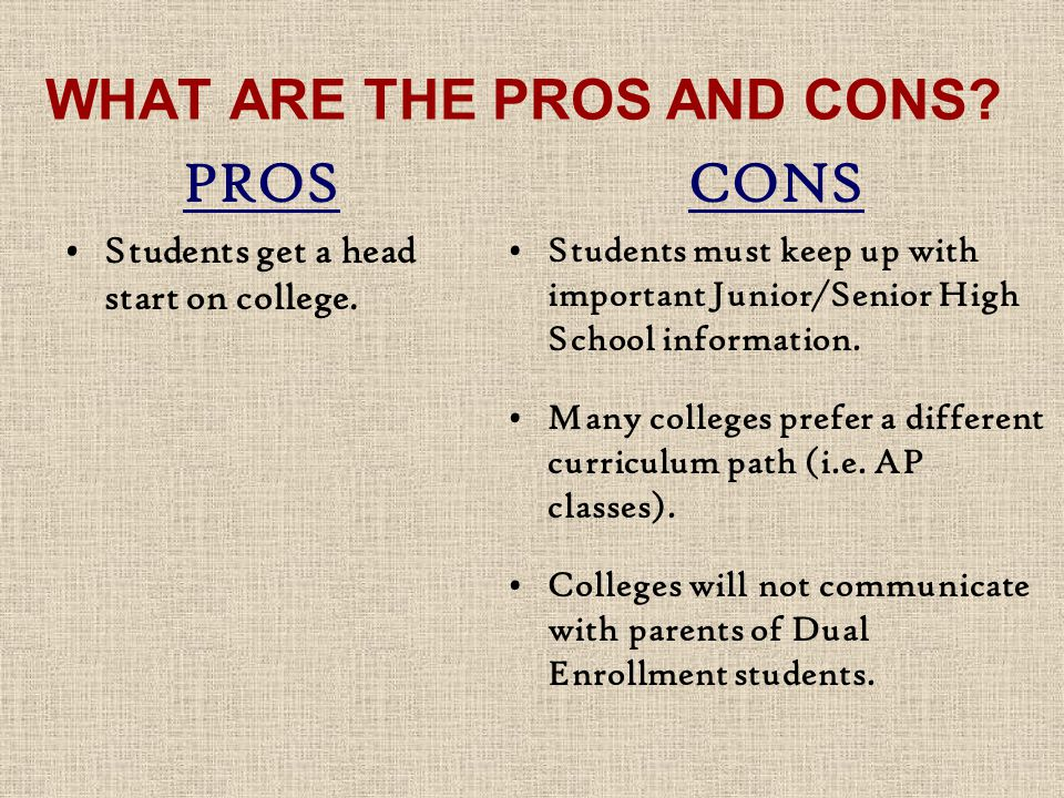 WHAT ARE THE PROS AND CONS. PROS Students get a head start on college.
