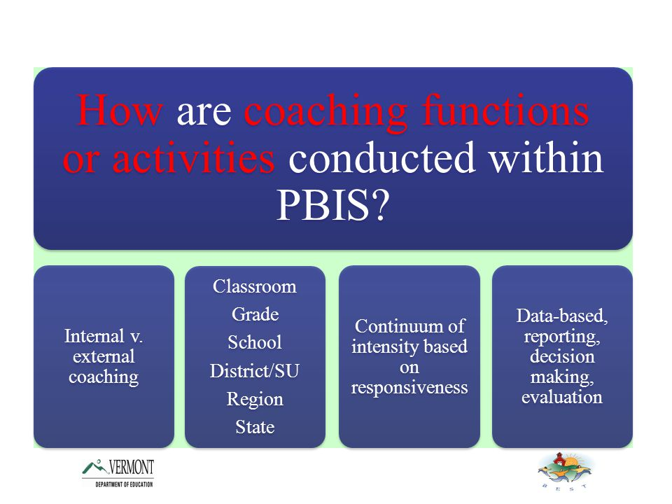 How are coaching functions or activities conducted within PBIS.