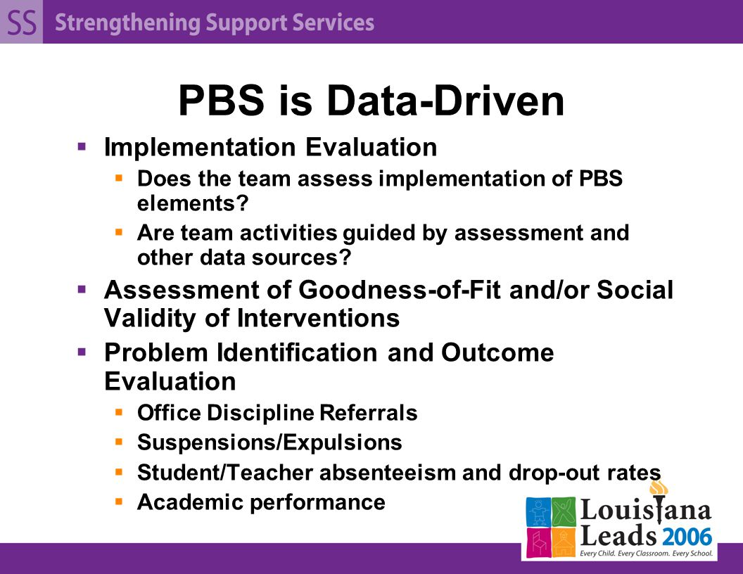 PBS is Data-Driven  Implementation Evaluation  Does the team assess implementation of PBS elements.