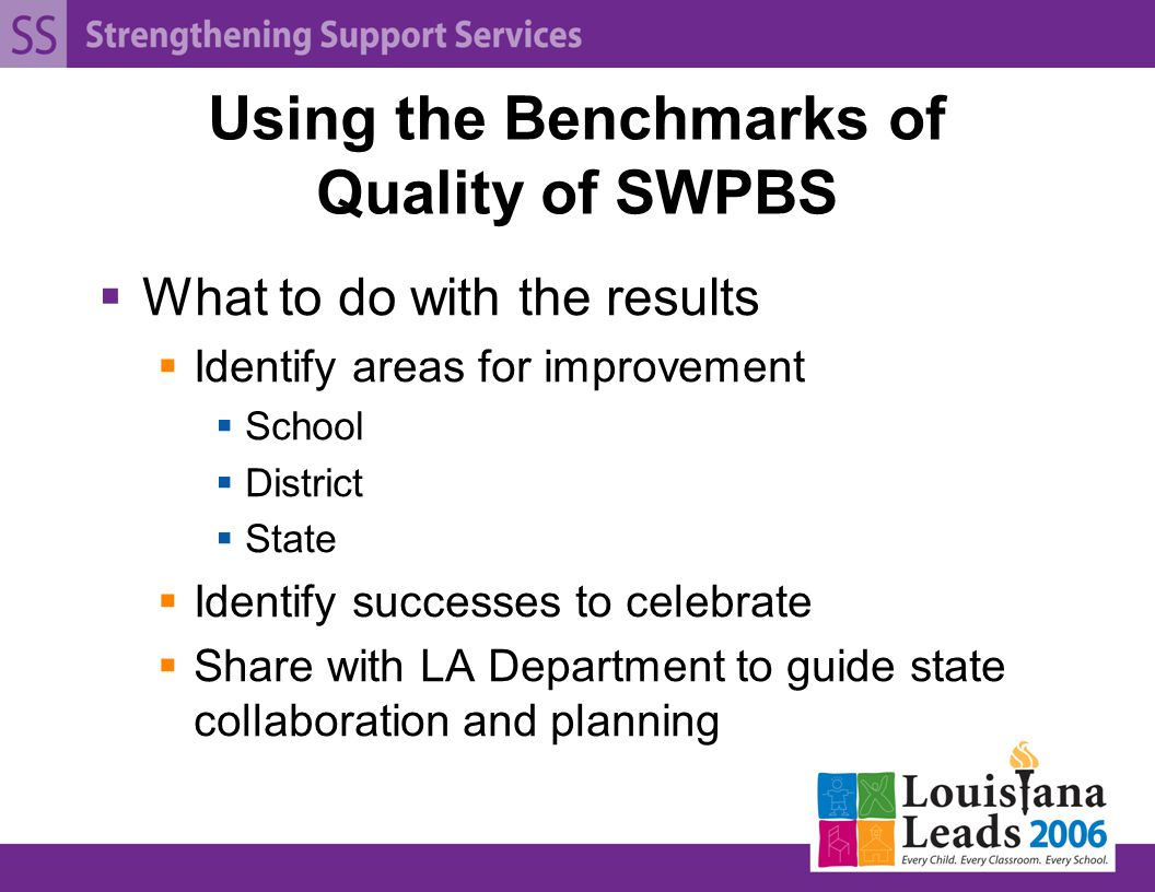 Using the Benchmarks of Quality of SWPBS  What to do with the results  Identify areas for improvement  School  District  State  Identify successes to celebrate  Share with LA Department to guide state collaboration and planning