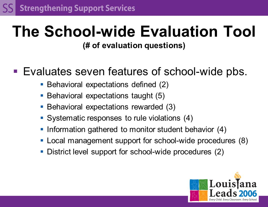 The School-wide Evaluation Tool (# of evaluation questions)  Evaluates seven features of school-wide pbs.