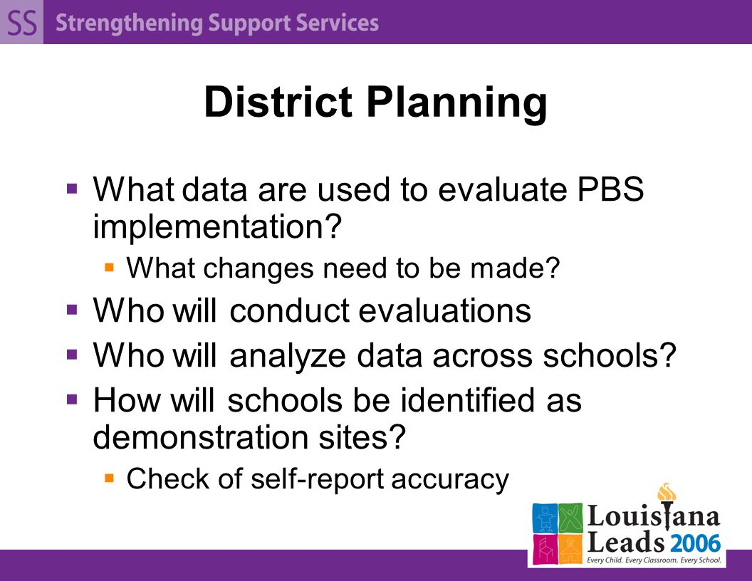 District Planning  What data are used to evaluate PBS implementation.