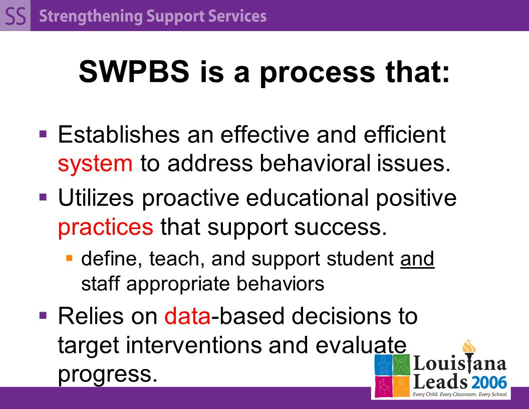 SWPBS is a process that:  Establishes an effective and efficient system to address behavioral issues.