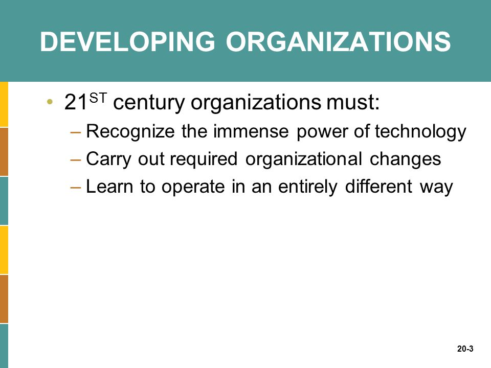 20-4 DEVELOPING ORGANIZATIONS Industries that have changed due to technology –Travel –Entertainment –Electronics –Financial services –Retail –Automobiles –Education and training
