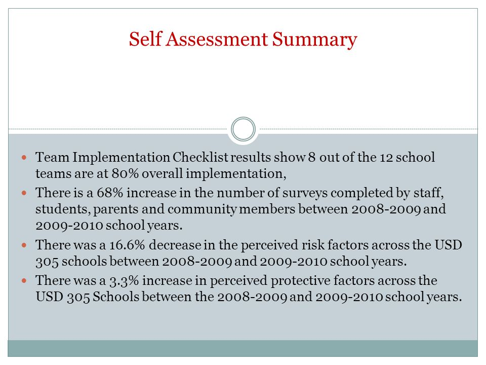 Self Assessment Summary Team Implementation Checklist results show 8 out of the 12 school teams are at 80% overall implementation, There is a 68% increase in the number of surveys completed by staff, students, parents and community members between and school years.