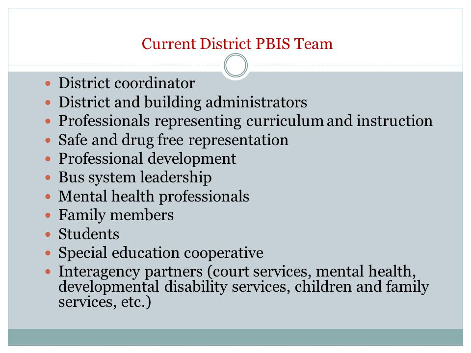 Current District PBIS Team District coordinator District and building administrators Professionals representing curriculum and instruction Safe and drug free representation Professional development Bus system leadership Mental health professionals Family members Students Special education cooperative Interagency partners (court services, mental health, developmental disability services, children and family services, etc.)