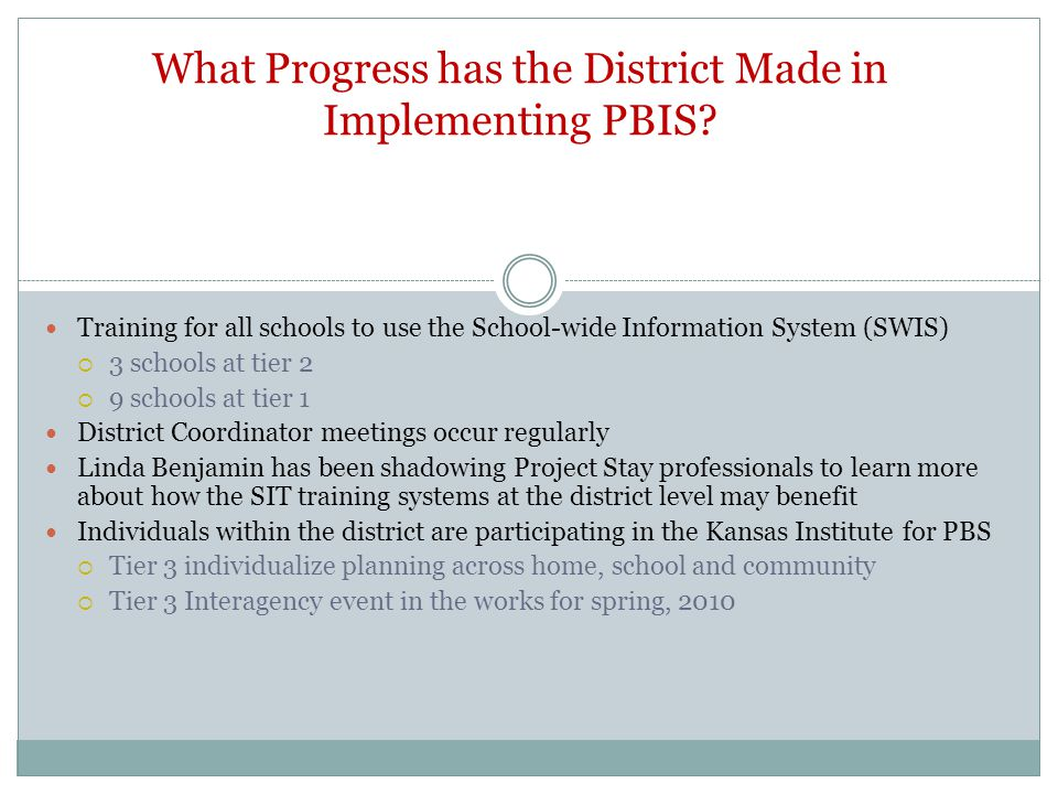 What Progress has the District Made in Implementing PBIS.