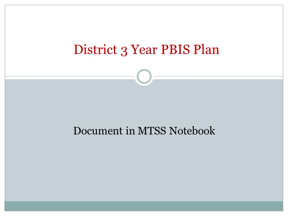 District 3 Year PBIS Plan Document in MTSS Notebook
