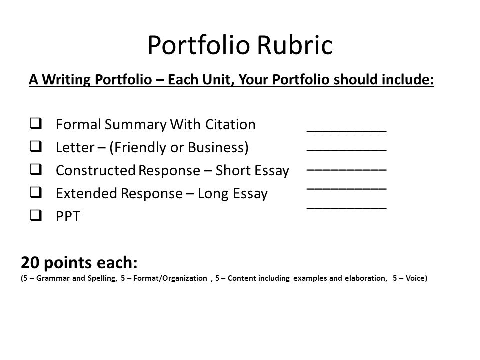 Unit One Assignments The Formal Summary. Portfolio Rubric A