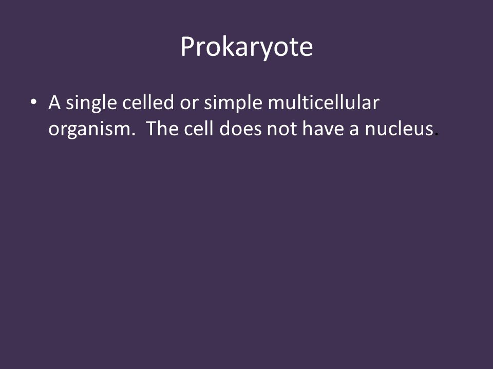 Prokaryote A single celled or simple multicellular organism. The cell does not have a nucleus.