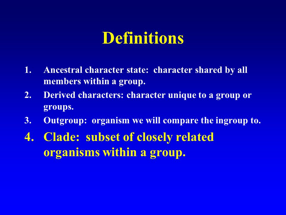 Definitions 1.Ancestral character state: character shared by all members within a group.