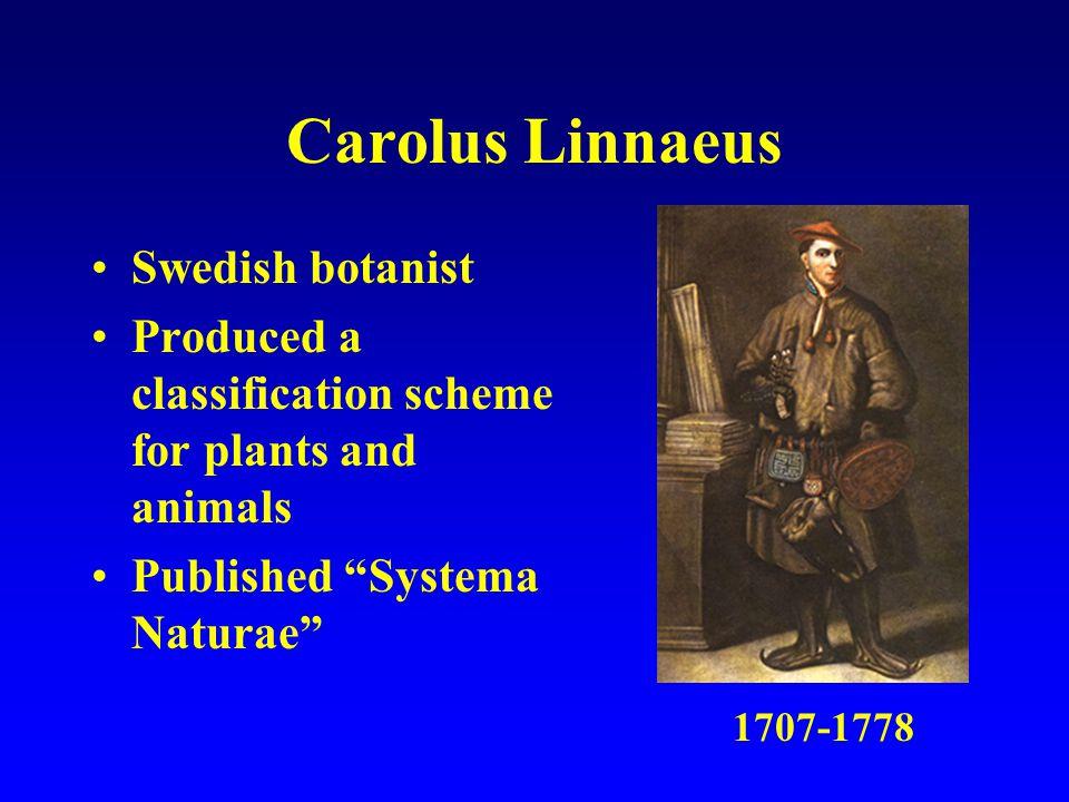 Carolus Linnaeus Swedish botanist Produced a classification scheme for plants and animals Published Systema Naturae 1707-1778
