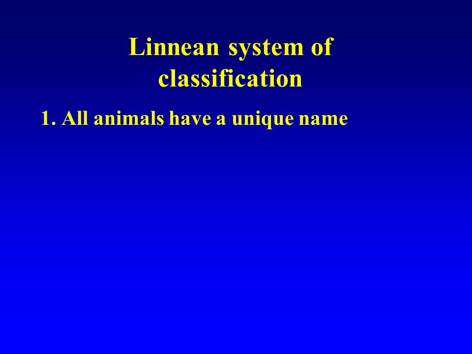 1. All animals have a unique name