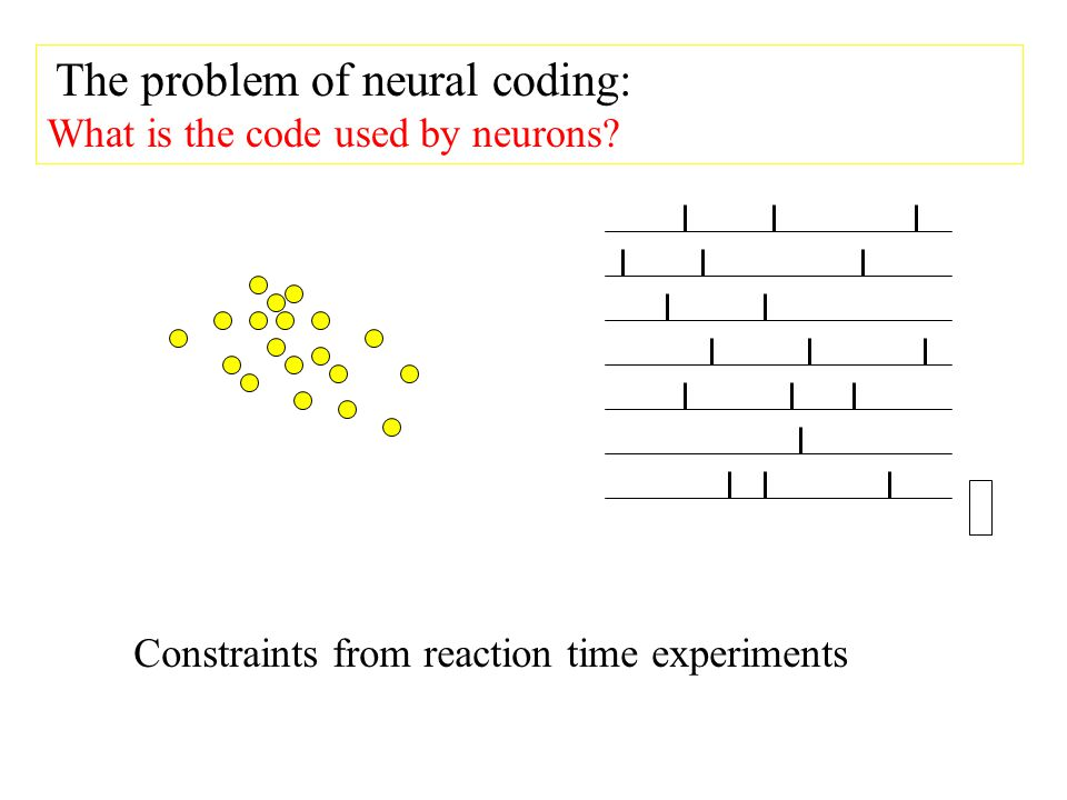 The problem of neural coding: What is the code used by neurons.