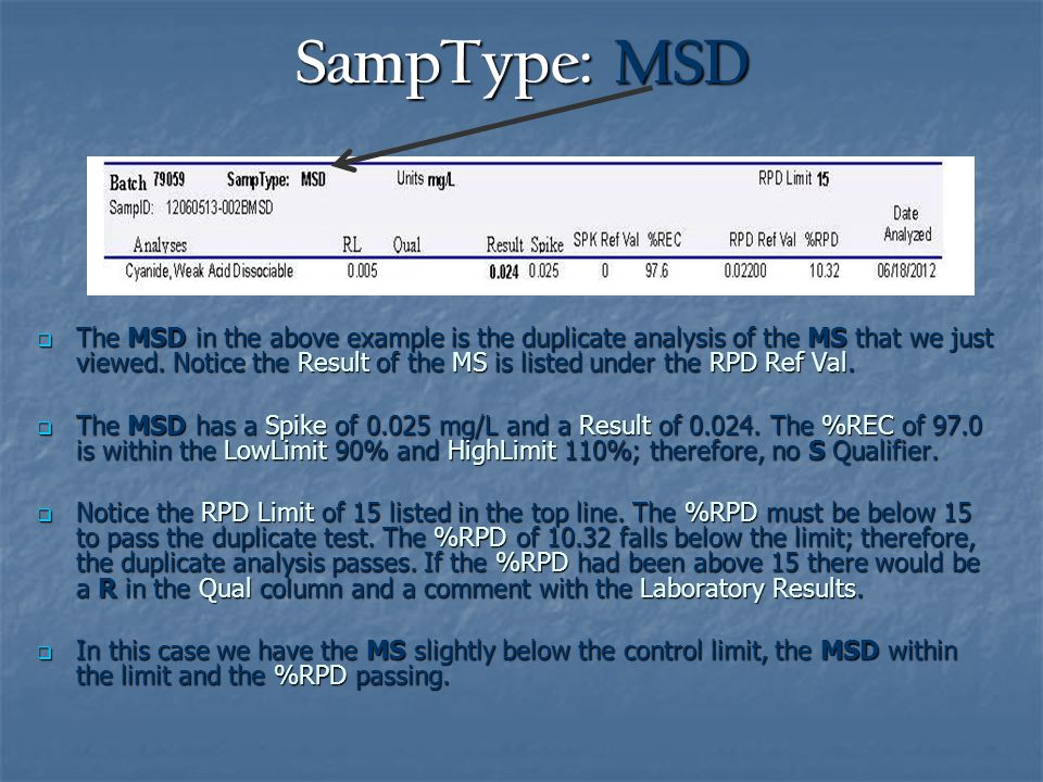 SampType: MSD  The MSD in the above example is the duplicate analysis of the MS that we just viewed.