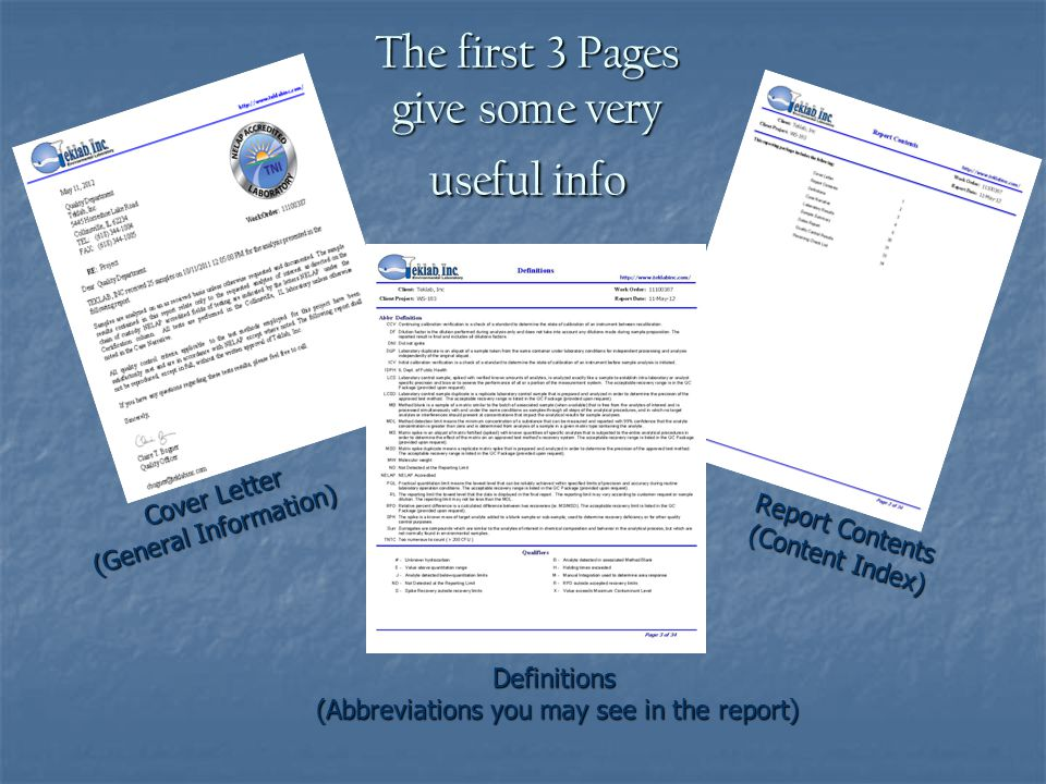 The first 3 Pages give some very useful info Cover Letter (General Information) (General Information) Report Contents (Content Index) Definitions (Abbreviations you may see in the report)