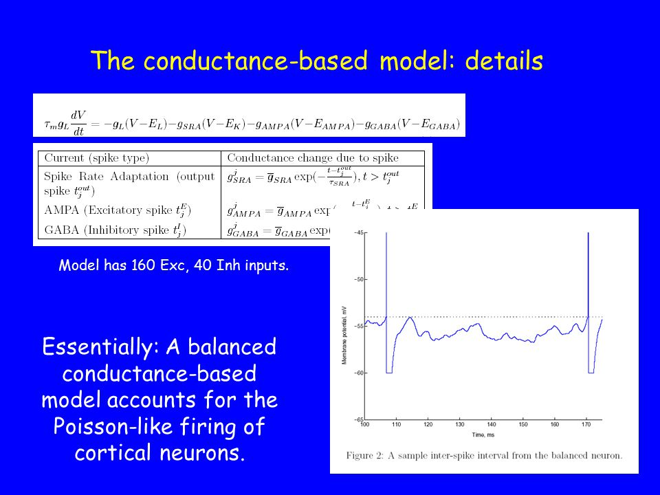 The conductance-based model: details Essentially: A balanced conductance-based model accounts for the Poisson-like firing of cortical neurons.