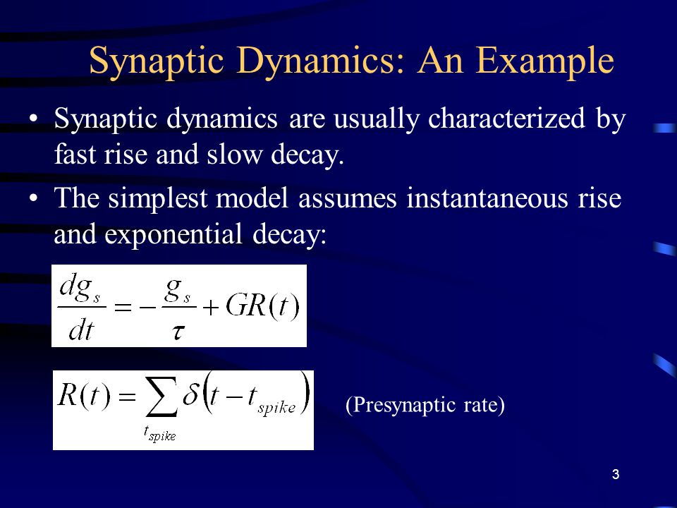 Synaptic Dynamics: An Example Synaptic dynamics are usually characterized by fast rise and slow decay.